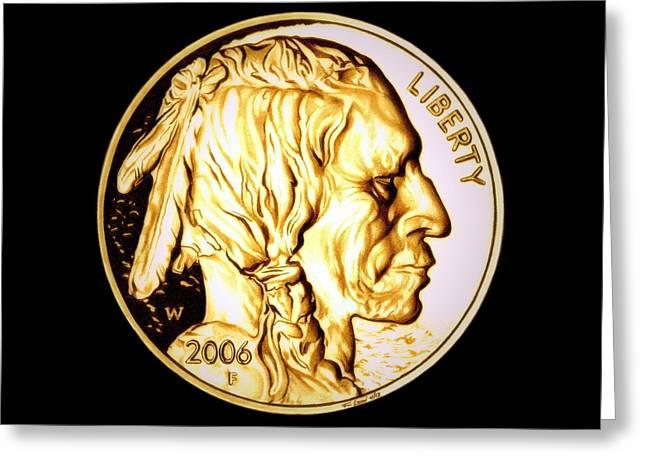 Gold Nugget Buffalo Nickel Greeting Card