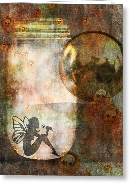 Gold Orbs Fairy Greeting Card