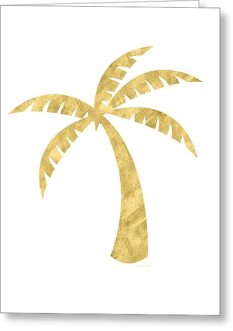 Gold Palm Tree- Art By Linda Woods Greeting Card by Linda Woods