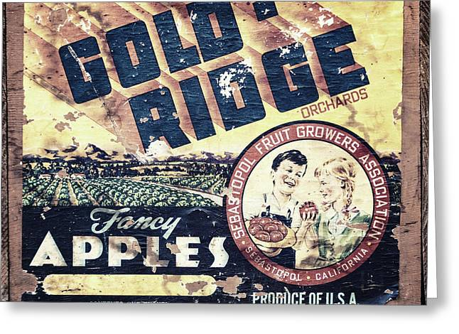 Gold Ridge Apple Crate Greeting Card by Lisa Russo