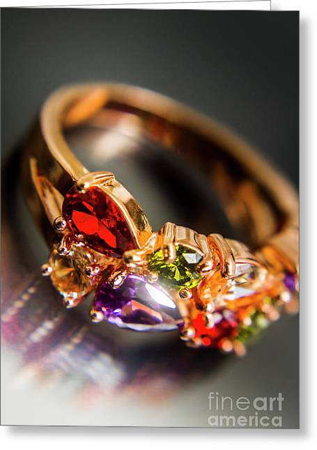 Gold Ring With Colorful Gemstone Design Greeting Card