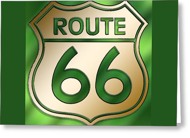 Greeting Card featuring the digital art Gold Route 66 Sign by Chuck Staley