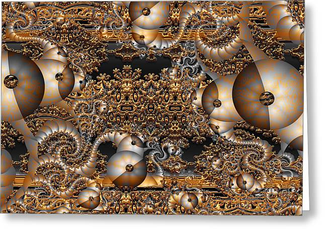 Greeting Card featuring the digital art Gold Rush by Robert Orinski