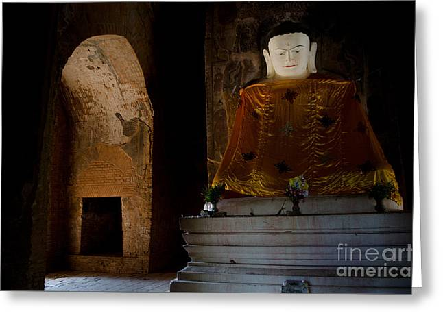 Gold Shrouded Buddha In Burma Basks In Natural Light By Temple Portal Greeting Card by Jason Rosette