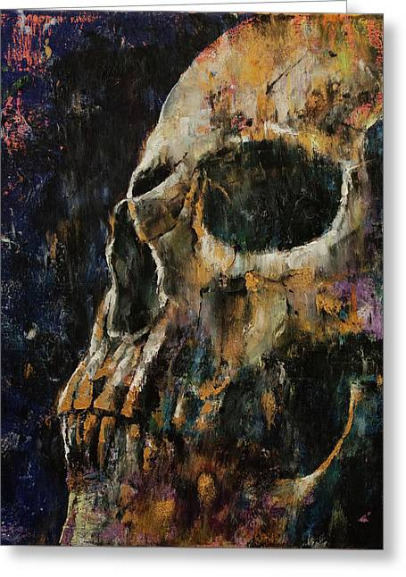 Gold Skull Greeting Card by Michael Creese