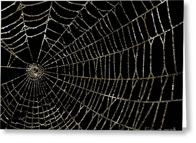 Gold Spider Web Fashion Halloween Greeting Card