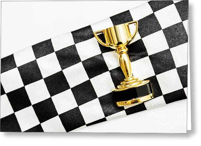 Gold Trophy On A Checked Sport Flag Greeting Card