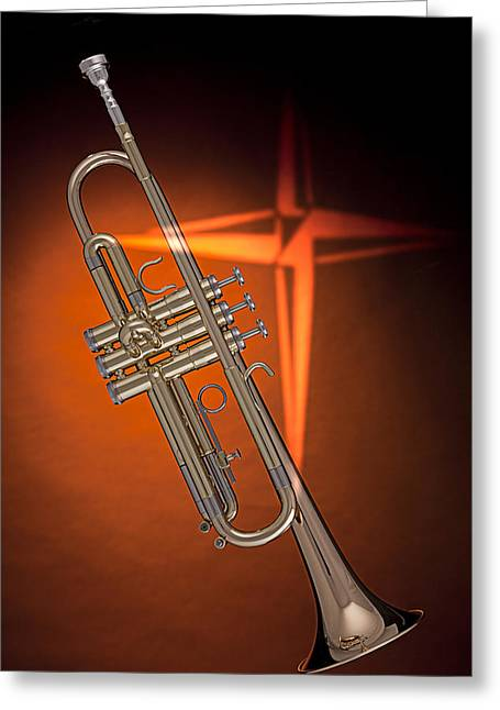 Mac K Miller Greeting Cards - Gold Trumpet with Cross on Orange Greeting Card by M K  Miller