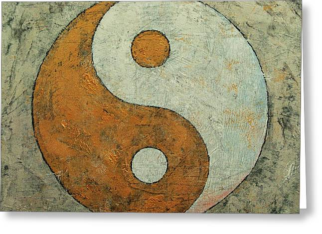Gold Yin Yang Greeting Card by Michael Creese