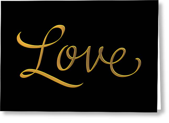Golden 3d Look Script Of The Word Love Greeting Card