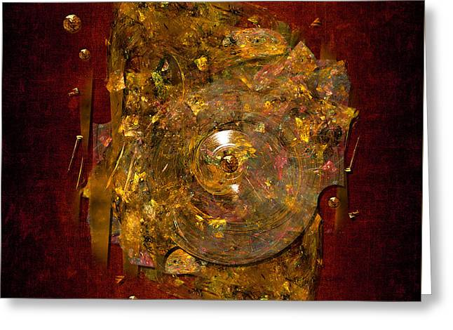 Greeting Card featuring the digital art Golden Abstract by Alexa Szlavics