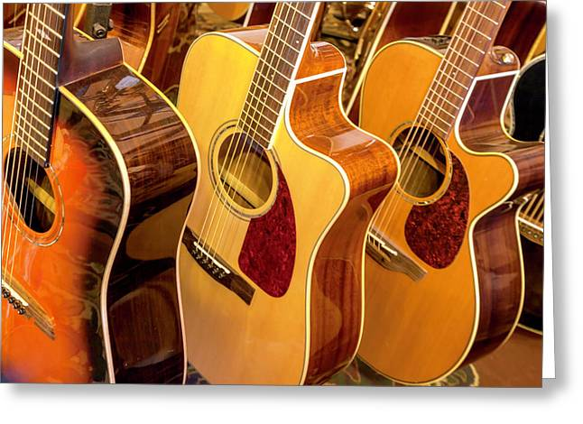 Golden Acoustic Guitars Greeting Card