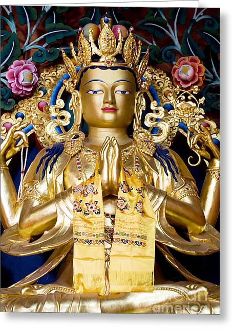 Golden Amitaba Buddha Statue Greeting Card