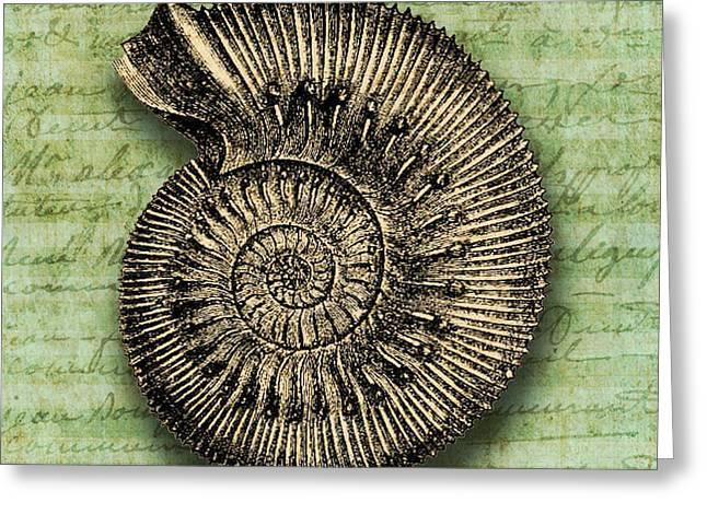 Golden Ammonite Greeting Card by Ramneek Narang