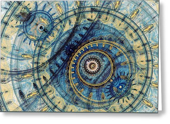 Golden And Blue Clockwork Greeting Card by Martin Capek