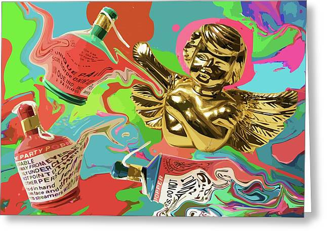 Golden Angel With Party Poppers Greeting Card