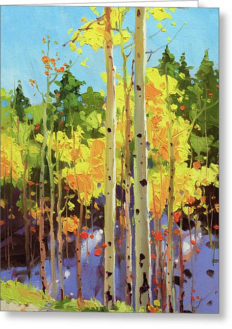 Golden Aspen In Early Snow Greeting Card