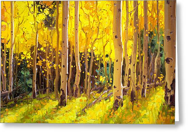 Golden Aspen In The Light Greeting Card by Gary Kim
