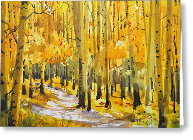 Golden Aspens Greeting Card by Spencer Meagher
