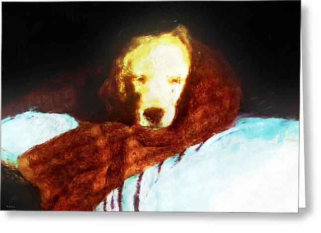 Golden Aura Greeting Card by Rora