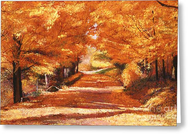 Golden Autumn Greeting Card by David Lloyd Glover