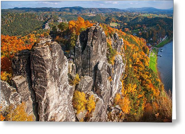 Golden Autumn In Saxon Switzerland Greeting Card by Jenny Rainbow