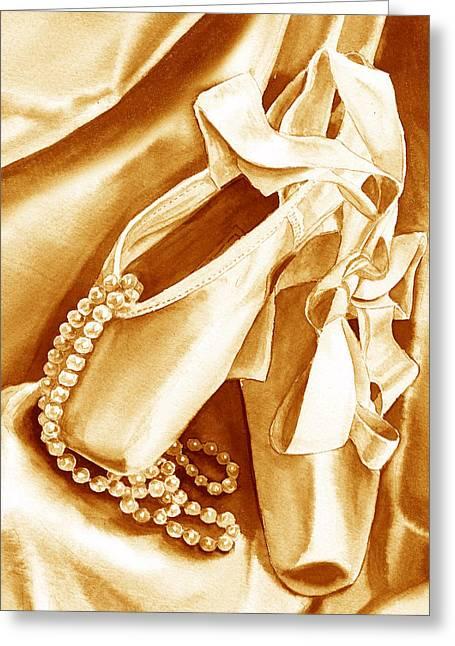Golden Ballet Slippers Greeting Card