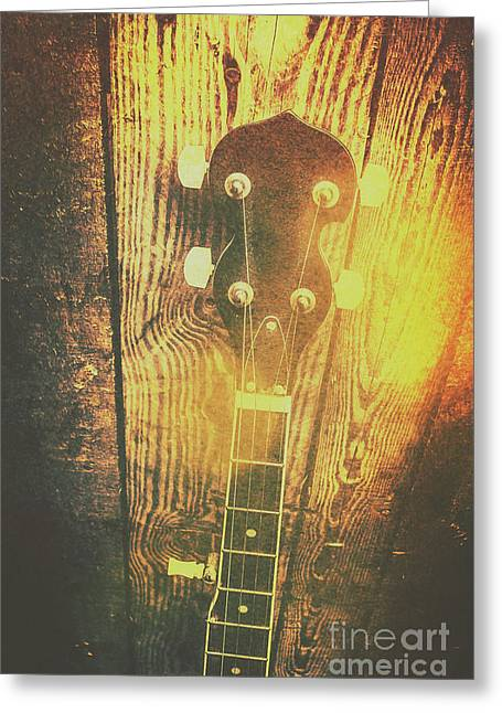 Golden Banjo Neck In Retro Folk Style Greeting Card