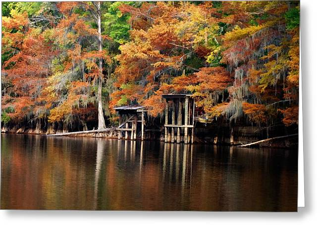 Greeting Card featuring the digital art Golden Bayou by Lana Trussell