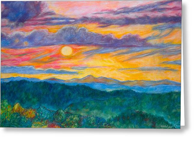 Greeting Card featuring the painting Golden Blue Ridge Sunset by Kendall Kessler