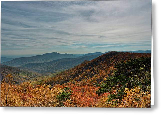 Golden Blue Ridge Under The Clouds Greeting Card by Lara Ellis