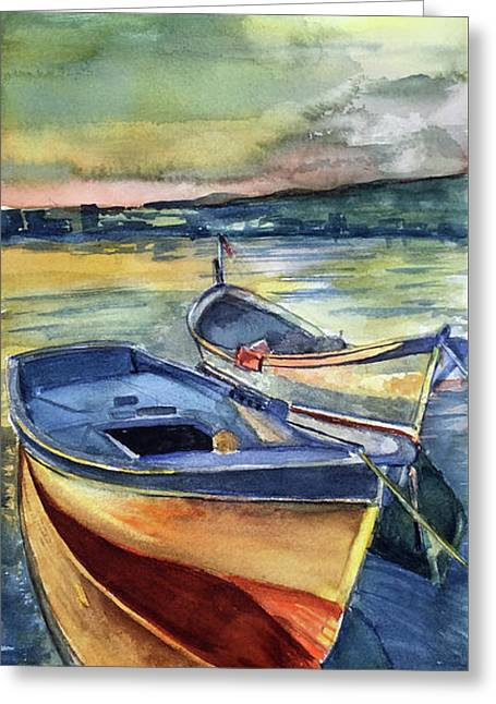 Golden Boats Greeting Card