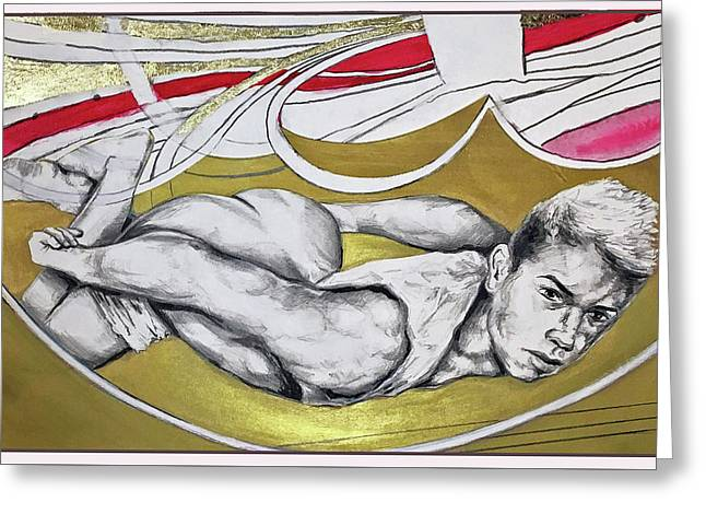 Golden Boy Version 1 Greeting Card by Rene Capone