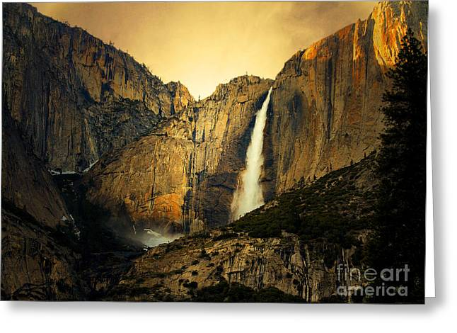 Golden Bridalveil Fall Greeting Card by Wingsdomain Art and Photography