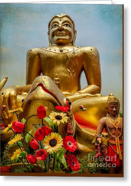 Flowers For Buddha  Greeting Card by Adrian Evans