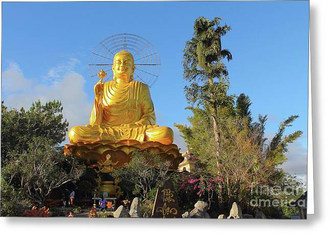 Golden Buddha In Vietnam Dalat Greeting Card by Mariia Kilina