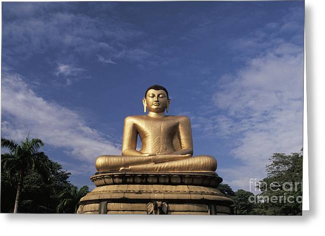 Golden Buddha Greeting Card by Larry Dale Gordon - Printscapes