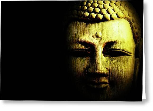 Golden Buddha On Black Greeting Card by Skip Nall