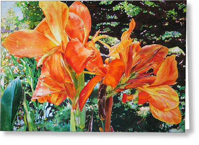 Canna Greeting Cards - Golden Cannas Greeting Card by Kathleen Ballard