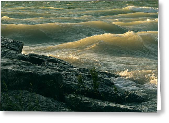 Golden Capped Sunset Waves Of Lake Michigan Greeting Card