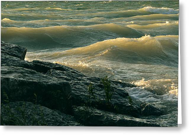 Greeting Card featuring the photograph Golden Capped Sunset Waves Of Lake Michigan by SimplyCMB
