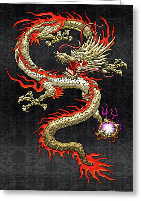 Golden Chinese Dragon Fucanglong On Black Silk Greeting Card