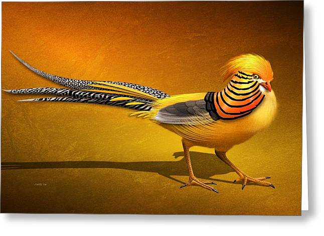 Golden Chinese Pheasant Greeting Card