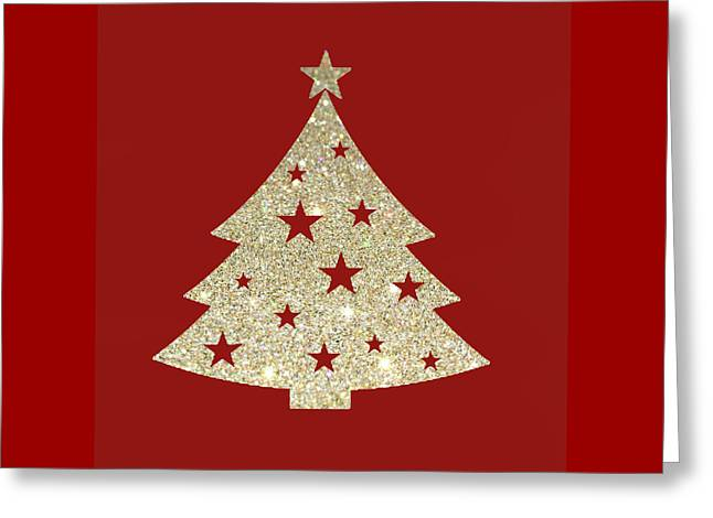 Golden Christmas Tree Greeting Card by Art Spectrum