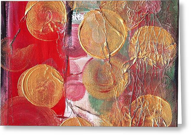Golden Circles On Red And Green Greeting Card