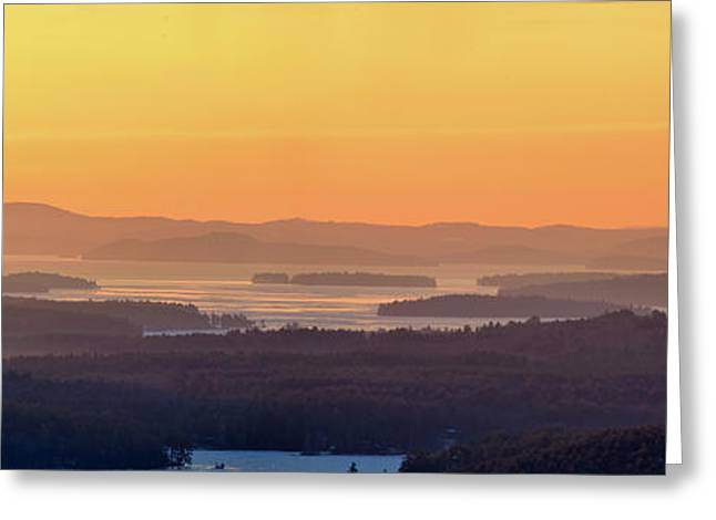 Golden Dawn Over Squam And Winnipesaukee Greeting Card by Sebastien Coursol