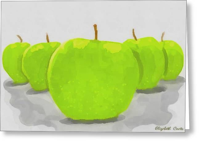 Greeting Card featuring the painting Golden Delicious by Elizabeth Coats