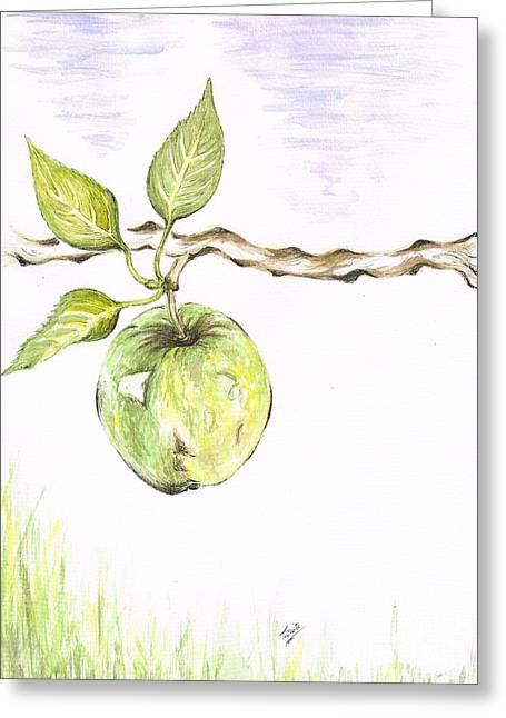 Golden Delishous Apple Greeting Card by Teresa White