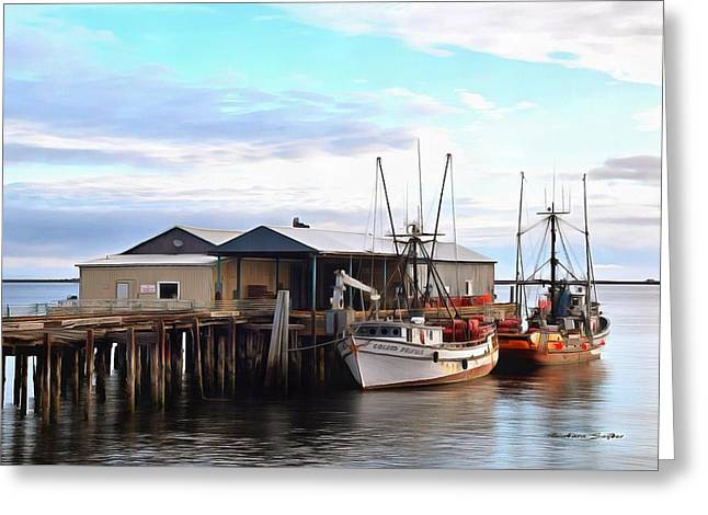 Golden Dolphin Eel Fishing Boat Port Angeles Washington Painting Greeting Card by Barbara Snyder