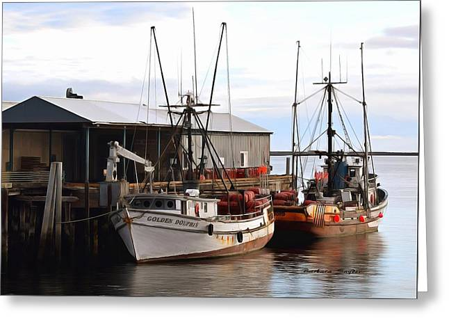 Golden Dolphin Eel Fishing Boat Port Angeles Washington Detail Painting Greeting Card by Barbara Snyder
